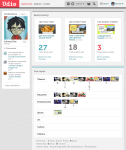 Screen shot of Udio student dashboard