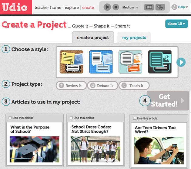 Udio Create a project page